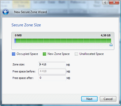 set new size for secure zone on encrypted cd