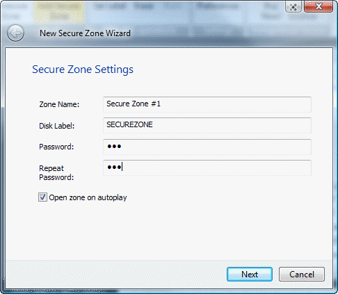 add new secure zone to encrypted cd