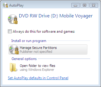 AutoPlay dialog of the encrypted compact disc