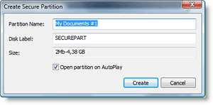 create new encrypted partition for dvd
