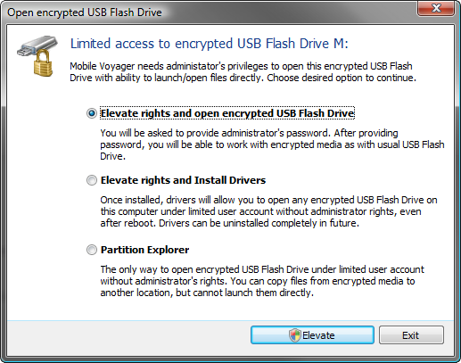 limited access to encrypted usb flash drive