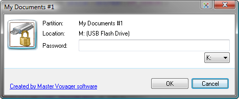 Enter password for encrypted usb flash drive