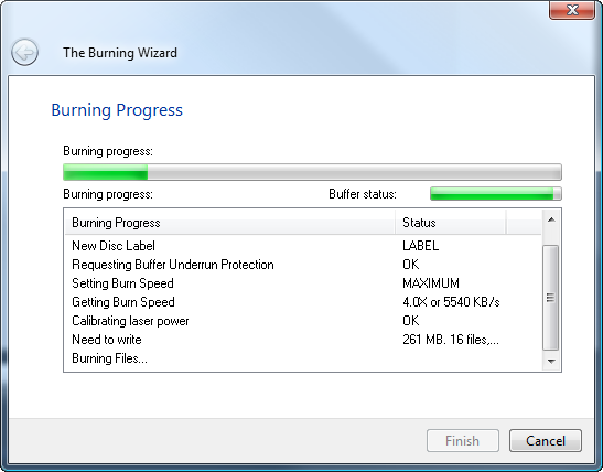 The progress page of burning secure encrypted cd/dvd/bluray