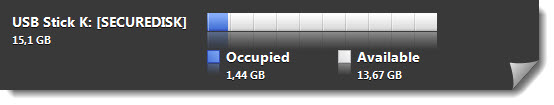 the capacity bar for usb secure disk