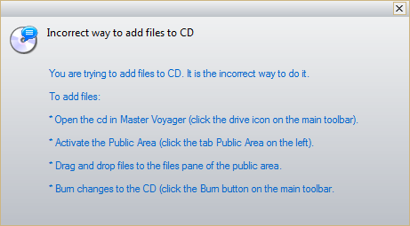 warning message - incorrect way to add fiels to the encrypted cd