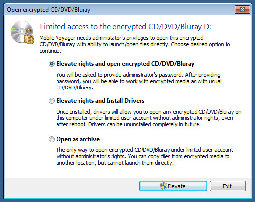 administratov priveleges to open encrypted usb flash drive on encrypted cd