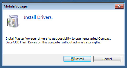 Install drivers to open encrypted usb flash drive or secure cd